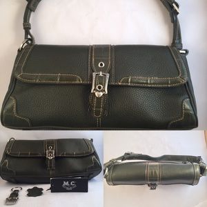M.C. Olive green, textured leather shoulder bag